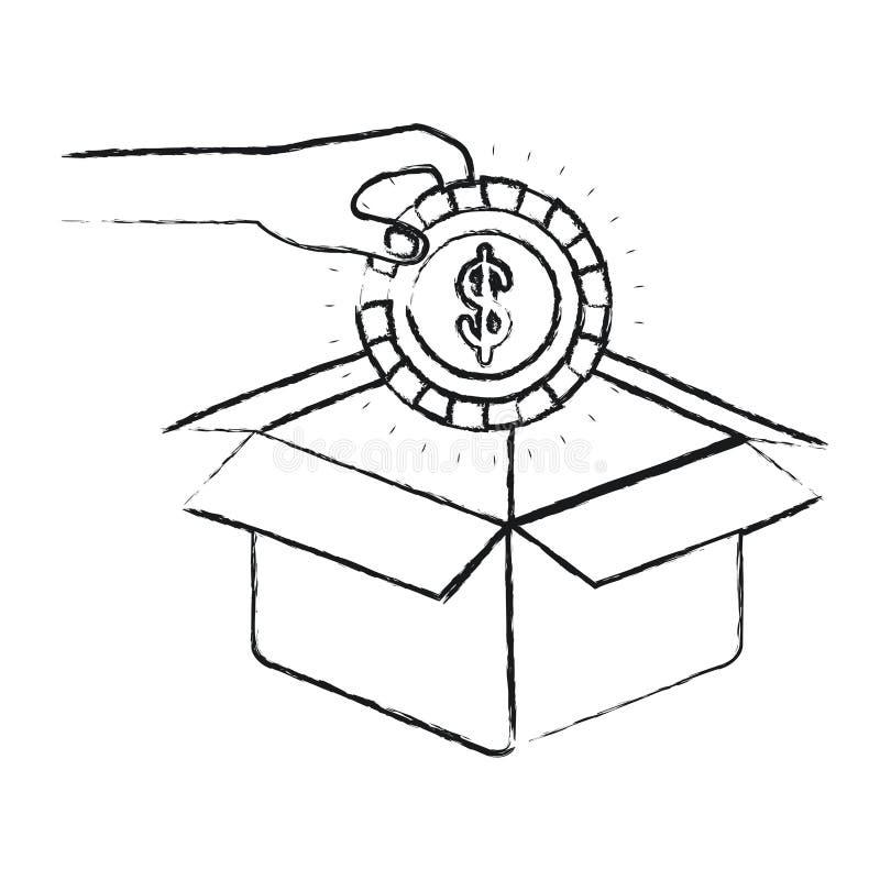 Θολωμένο χέρι σκιαγραφιών που κρατά ένα νόμισμα με το σύμβολο δολαρίων μέσα στην κατάθεση στο κουτί από χαρτόνι διανυσματική απεικόνιση