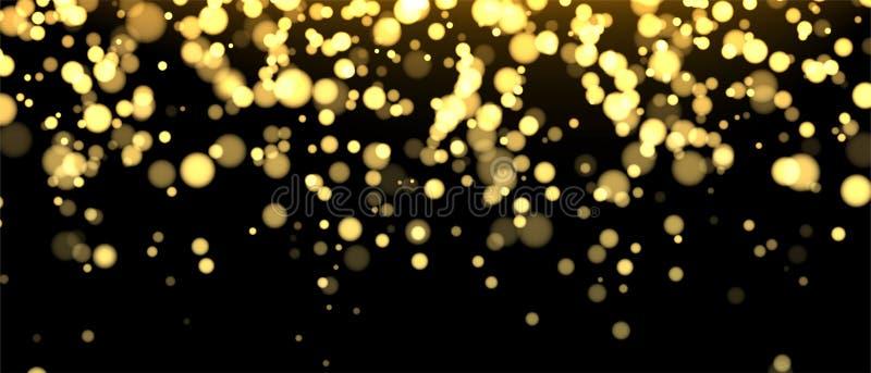 Θολωμένο χρυσός έμβλημα στο μαύρο υπόβαθρο Ακτινοβολώντας μειωμένο σκηνικό κομφετί Χρυσή shimmer σύσταση για το σχέδιο πολυτέλεια διανυσματική απεικόνιση