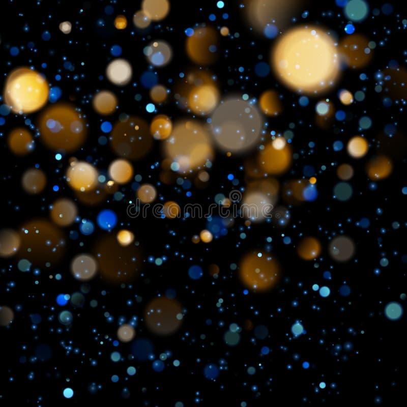 Θολωμένο bokeh φως στο σκούρο μπλε υπόβαθρο Χριστούγεννα και νέο πρότυπο διακοπών έτους Η περίληψη ακτινοβολεί Defocused απεικόνιση αποθεμάτων