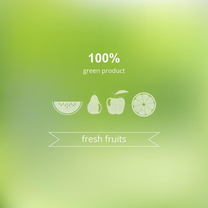 Θολωμένη διάνυσμα ανασκόπηση Πράσινο, οργανικό προϊόν διανυσματική απεικόνιση