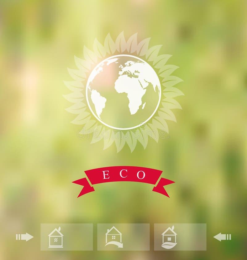 Θολωμένο υπόβαθρο με το διακριτικό eco, ετικέτα οικολογίας με τα εικονίδια του γ διανυσματική απεικόνιση