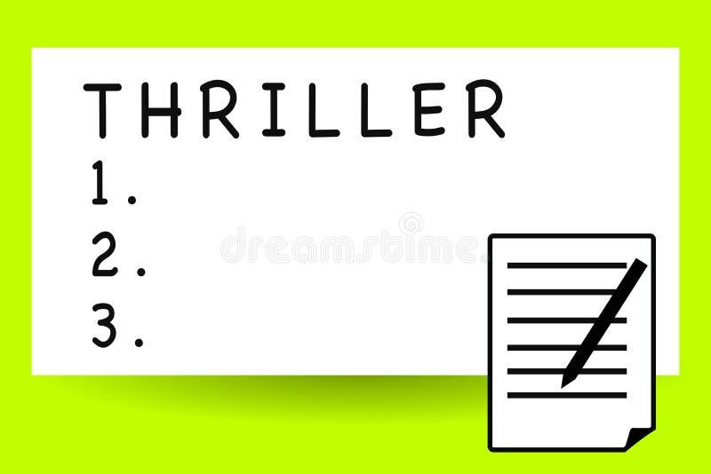 Θρίλλερ γραψίματος κειμένων γραφής Έννοια που σημαίνει το νέα παιχνίδι ή την ταινία με τη διέγερση της πλοκής που περιλαμβάνει χα ελεύθερη απεικόνιση δικαιώματος