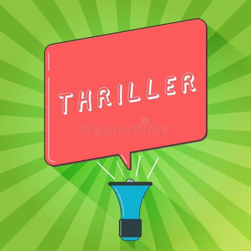 Θρίλλερ γραψίματος κειμένων γραφής Έννοια που σημαίνει το νέα παιχνίδι ή την ταινία με τη διέγερση της πλοκής που περιλαμβάνει χα απεικόνιση αποθεμάτων