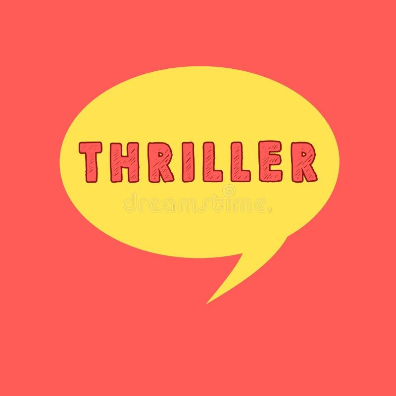 Θρίλλερ γραψίματος κειμένων γραφής Έννοια που σημαίνει το νέα παιχνίδι ή την ταινία με τη διέγερση της πλοκής που περιλαμβάνει χα διανυσματική απεικόνιση
