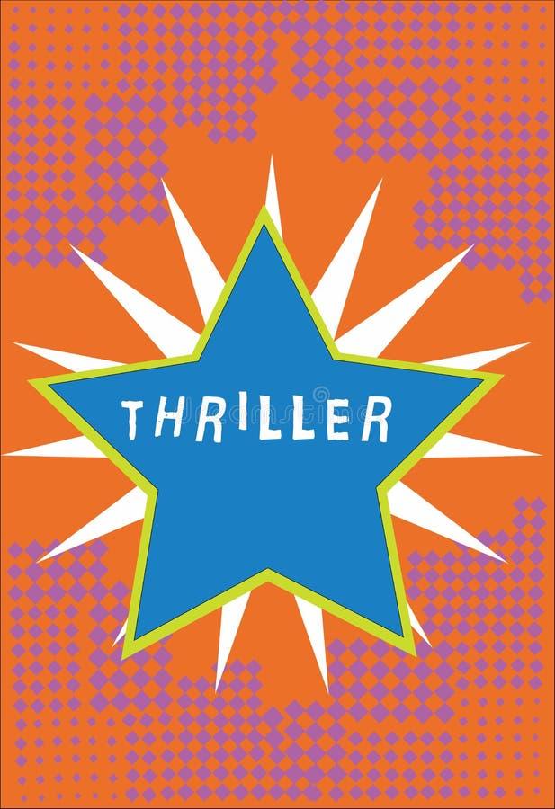 Θρίλλερ κειμένων γραφής Έννοια που σημαίνει το νέα παιχνίδι ή την ταινία με τη διέγερση της πλοκής που περιλαμβάνει χαρακτηριστικ διανυσματική απεικόνιση