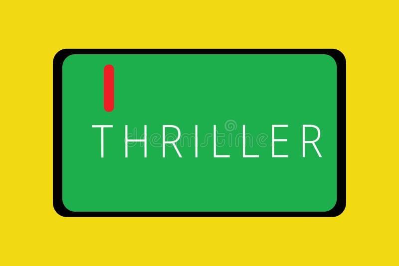 Θρίλλερ κειμένων γραψίματος λέξης Επιχειρησιακή έννοια για το νέα παιχνίδι ή την ταινία με τη διέγερση της πλοκής που περιλαμβάνε ελεύθερη απεικόνιση δικαιώματος
