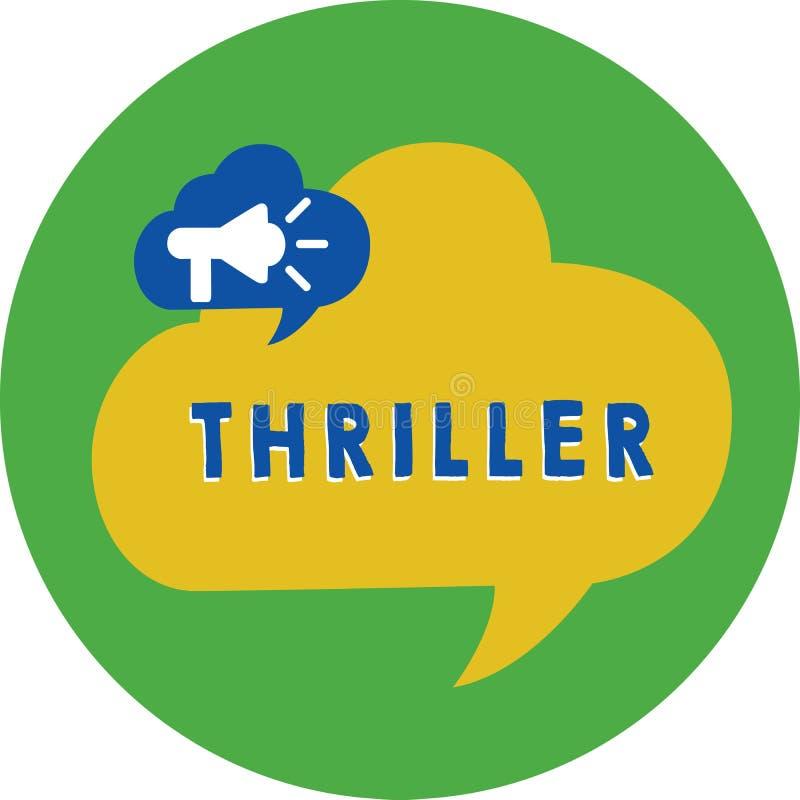 Θρίλλερ κειμένων γραψίματος λέξης Επιχειρησιακή έννοια για το νέα παιχνίδι ή την ταινία με τη διέγερση της πλοκής που περιλαμβάνε διανυσματική απεικόνιση