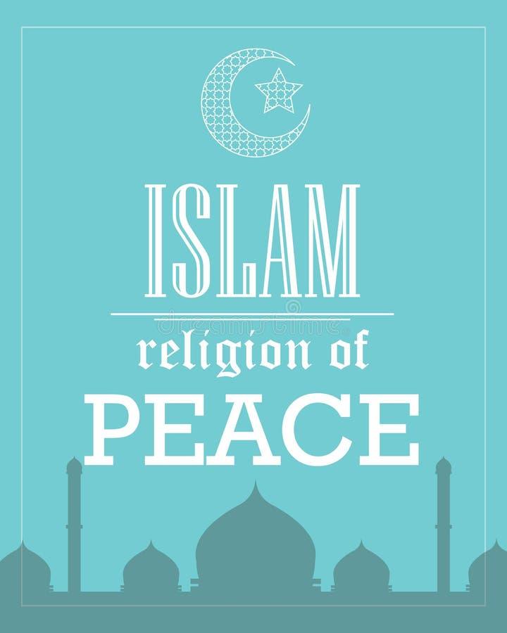 Θρησκεία Ισλάμ του επίπεδου διανύσματος προτύπων αφισών ειρήνης απεικόνιση αποθεμάτων