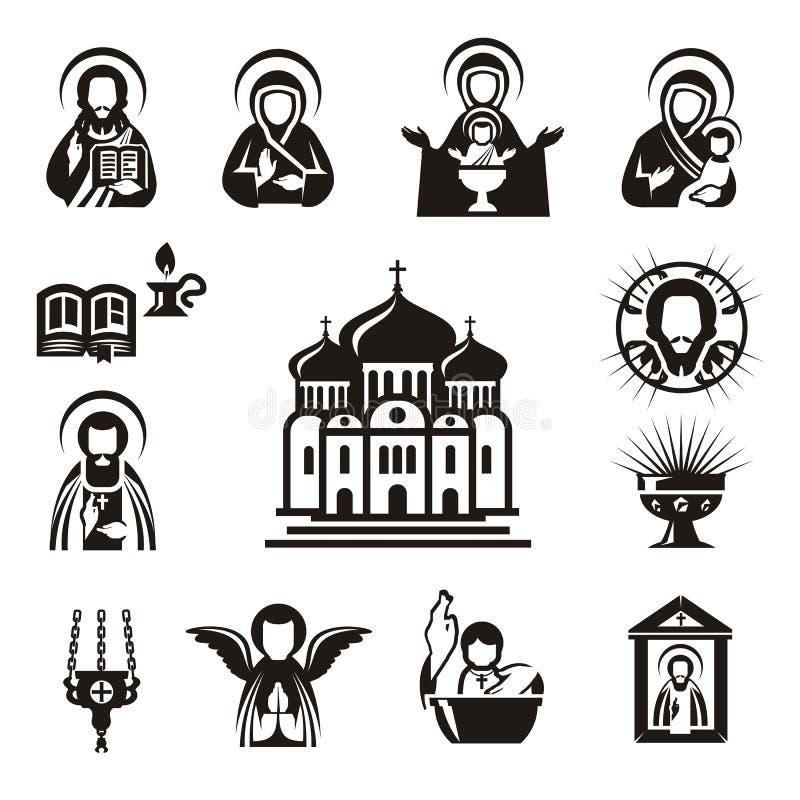 Θρησκευτικά εικονίδια απεικόνιση αποθεμάτων