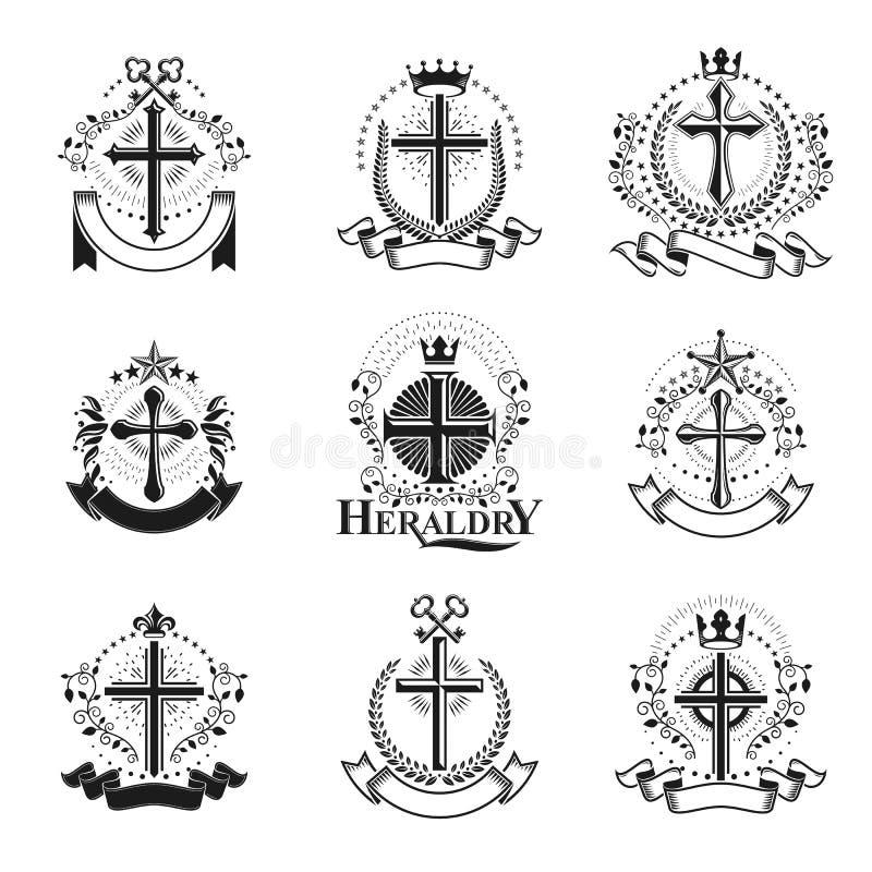 Θρησκευτικά εμβλήματα σταυρών καθορισμένα Εραλδική κάλυψη των όπλων, εκλεκτής ποιότητας VE διανυσματική απεικόνιση