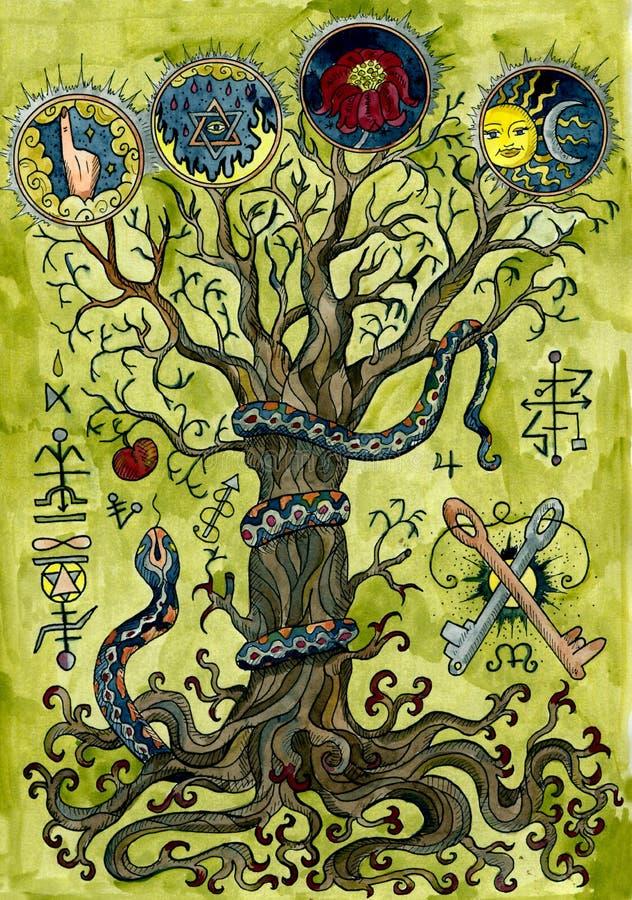 Θρησκευτική έννοια με το δέντρο γνώσης, το φίδι, το μήλο, τα βασικά και μυστήρια σύμβολα ελεύθερη απεικόνιση δικαιώματος