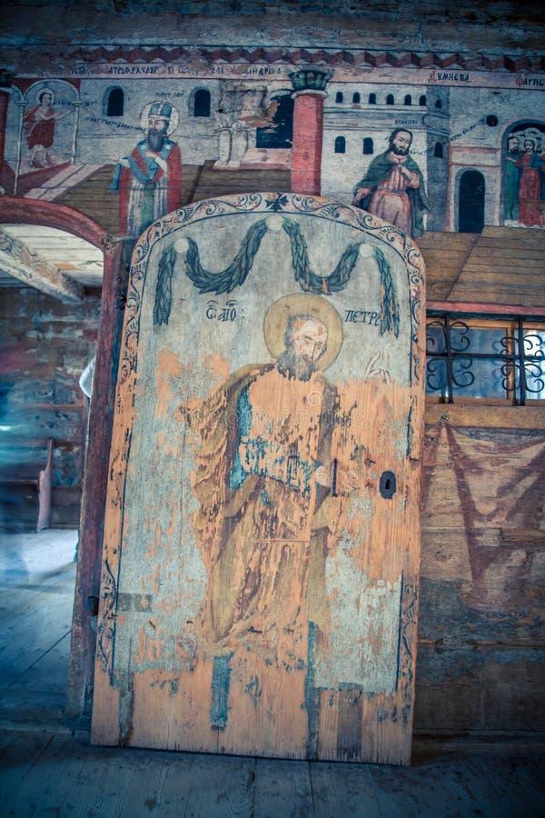 Θρησκευτική νωπογραφία σε μια ξύλινη επιτροπή στοκ εικόνα