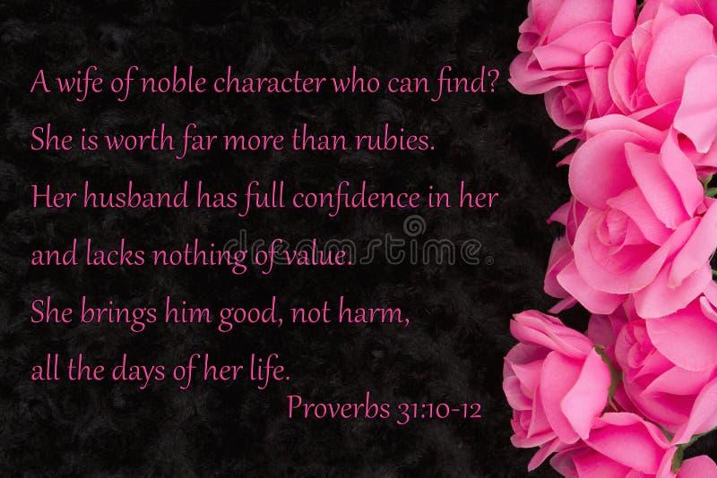 Θρησκευτική παροιμία 31 αγάπης μήνυμα με τα ρόδινα τριαντάφυλλα στο Μαύρο στοκ φωτογραφία με δικαίωμα ελεύθερης χρήσης