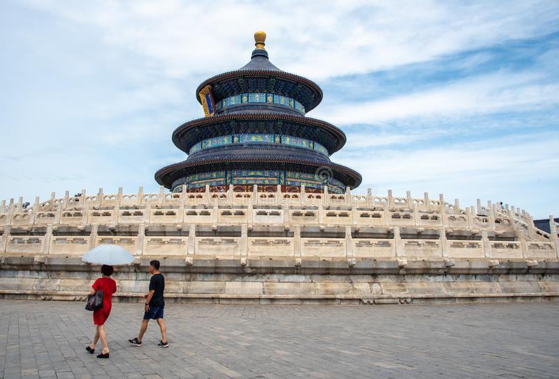 Θρησκευτικό ορόσημο του ναού του ουρανού στο Πεκίνο, Κίνα στοκ φωτογραφία με δικαίωμα ελεύθερης χρήσης