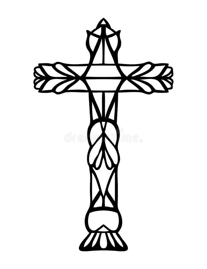 Θρησκευτικό χριστιανικό διανυσματικό σχέδιο του asymbol Πάσχας του περίκομψου συρμένου χέρι σταυρού ελεύθερη απεικόνιση δικαιώματος
