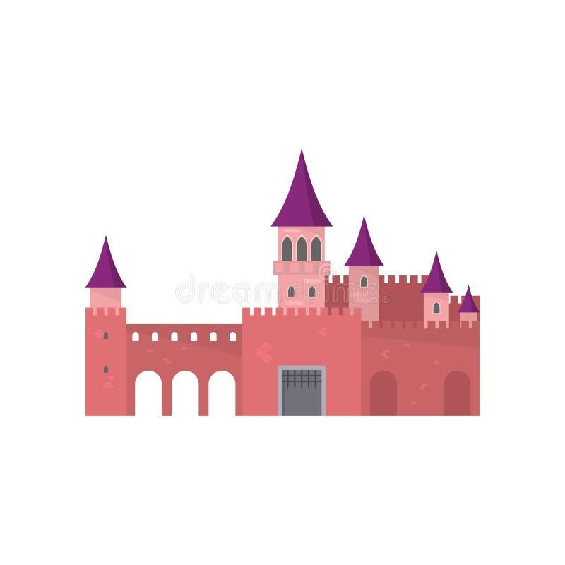 Θρυλικό τούβλινο κάστρο με την όμορφη πορφυρή στέγη ελεύθερη απεικόνιση δικαιώματος