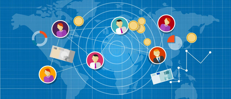 Θυγατρική που εμπορεύεται τους πολυ συνδεδεμένους πωλήσεις ανθρώπους δικτύων επιπέδων mlm διανυσματική απεικόνιση