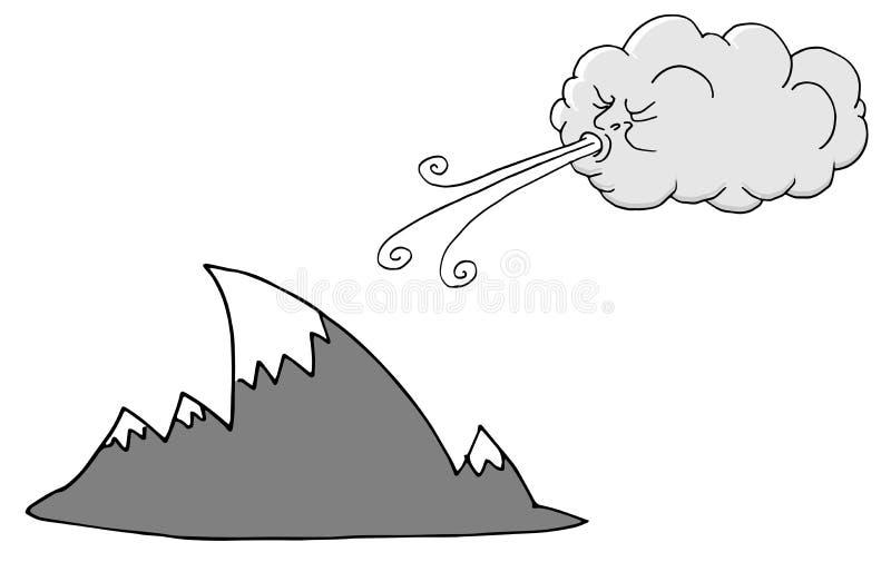 Θυελλώδη βουνά ημέρας και φυσώντας αέρας σύννεφων διανυσματική απεικόνιση