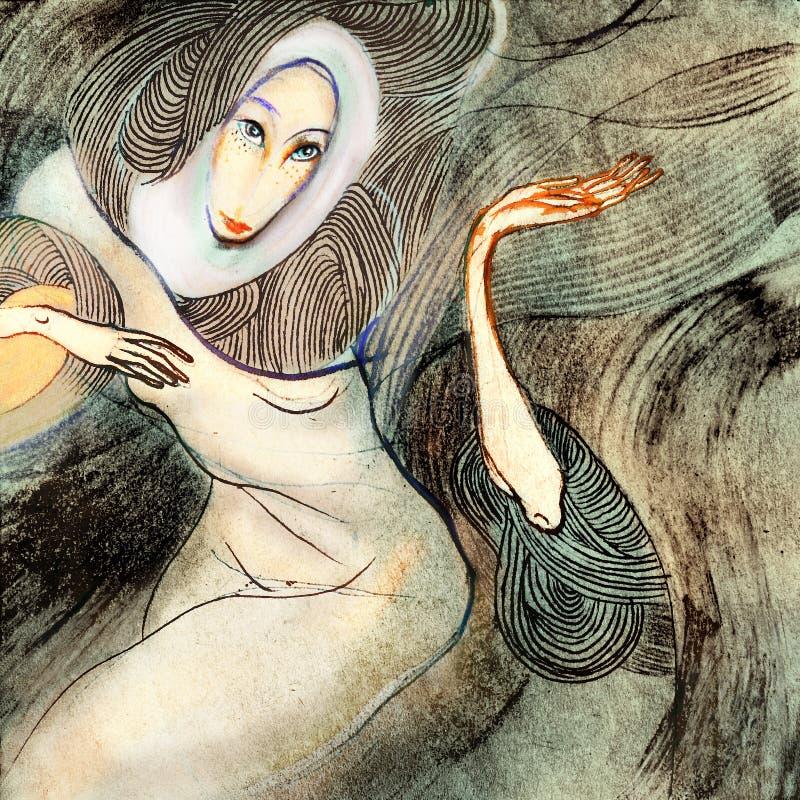Θυελλώδης γυναίκα, που επισύρει την προσοχή σε χαρτί διανυσματική απεικόνιση