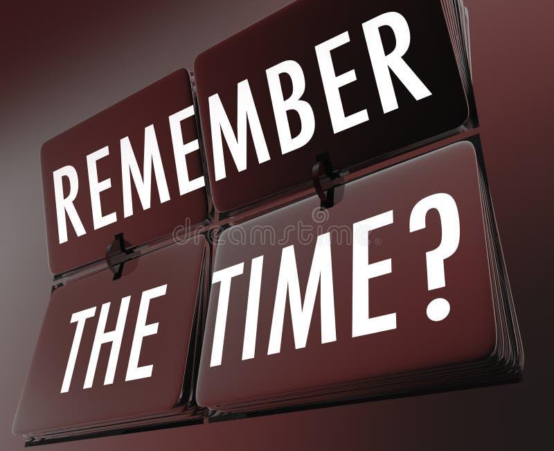 Θυμηθείτε τα κεραμίδια κτυπήματος ρολογιών χρονικών λέξεων ελεύθερη απεικόνιση δικαιώματος