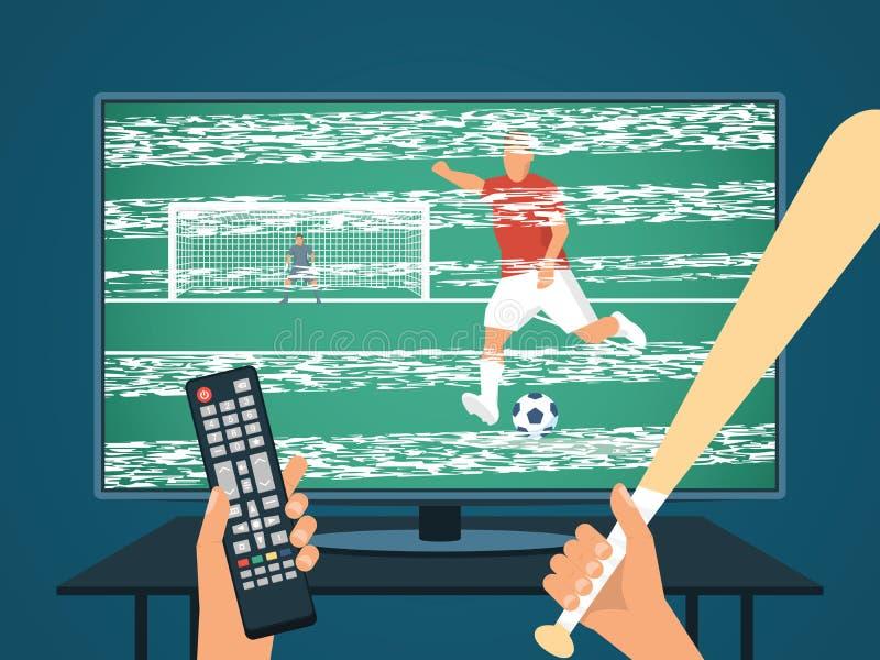 Θυμωμένα ποδόσφαιρο/ποδόσφαιρο προσοχής προσώπων στη TV Κακές σήμα και εικόνα Χέρι με το πίνακα ελέγχου και το ρόπαλο του μπέιζμπ ελεύθερη απεικόνιση δικαιώματος