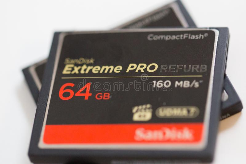 ΘΦ Proffessional 64GB τη κάρτα μνήμης στοκ φωτογραφίες
