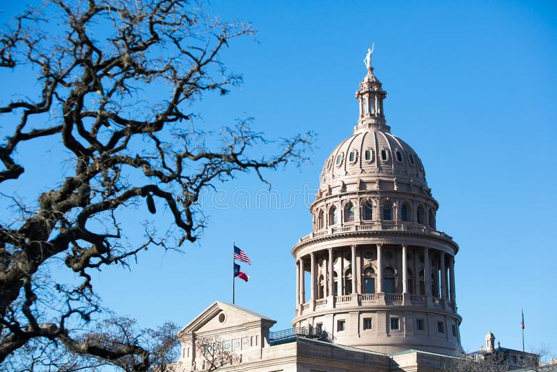 Θόλος κρατικού Capitol του Τέξας με το πρώτο πλάνο στοκ εικόνες
