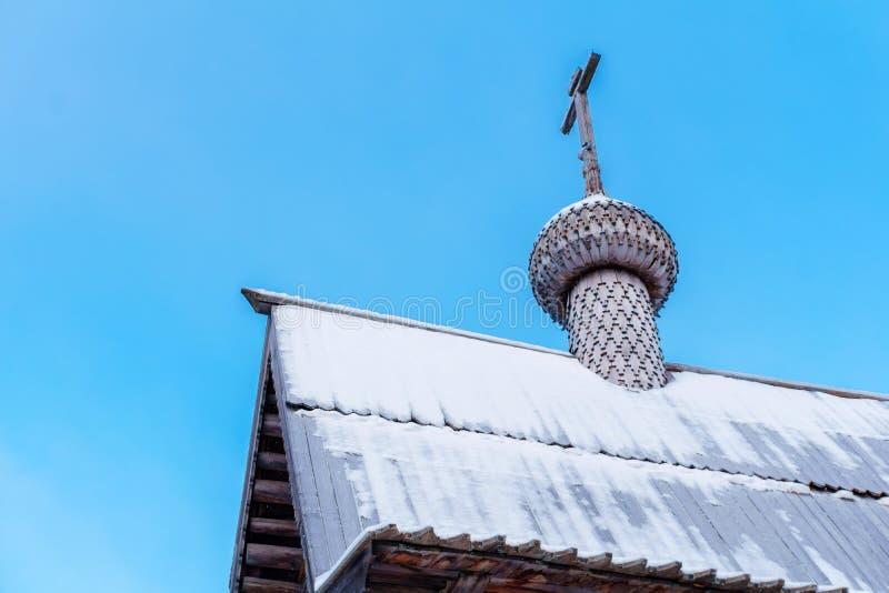 Θόλος της παλαιάς ξύλινης Ορθόδοξης Εκκλησίας στοκ εικόνες με δικαίωμα ελεύθερης χρήσης
