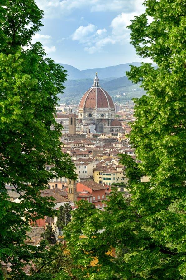 Θόλος της Φλωρεντίας με τα πράσινα δέντρα στοκ εικόνα