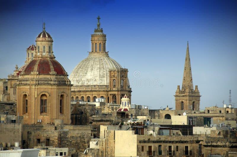 Θόλοι εκκλησιών σε Valletta Μάλτα στοκ φωτογραφία με δικαίωμα ελεύθερης χρήσης