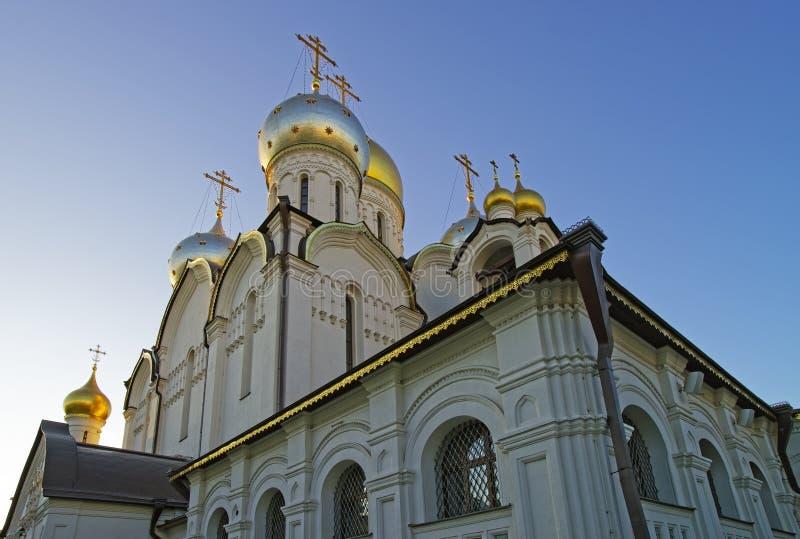 Θόλοι του καθεδρικού ναού Nativity της Mary στη μονή σύλληψης μέσα στοκ εικόνα με δικαίωμα ελεύθερης χρήσης