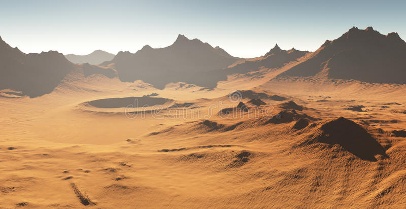 Θύελλα σκόνης στον Άρη Αριανό τοπίο με τους κρατήρες απεικόνιση αποθεμάτων