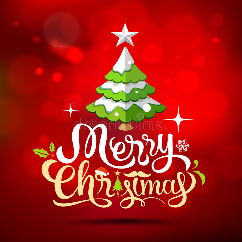 διάνυσμα δέντρων απεικόνισης χαιρετισμού Χριστουγέννων eps10 καρτών Εγγραφή Καλών Χριστουγέννων απεικόνιση αποθεμάτων