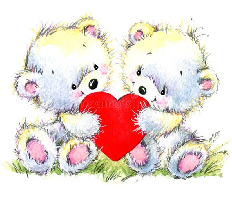 διάνυσμα βαλεντίνων αγάπης απεικόνισης ημέρας ζευγών Το χαριτωμένο λευκό αντέχει και κόκκινη καρδιά διανυσματική απεικόνιση