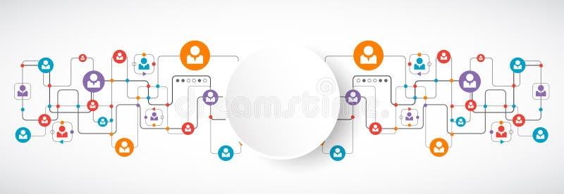 διάνυσμα δικτύων απεικόνισης σχεδίου έννοιας συνομιλίες έννοιας επικοινωνίας δεσμών που έχουν τους ανθρώπους μέσων κοινωνικούς διανυσματική απεικόνιση