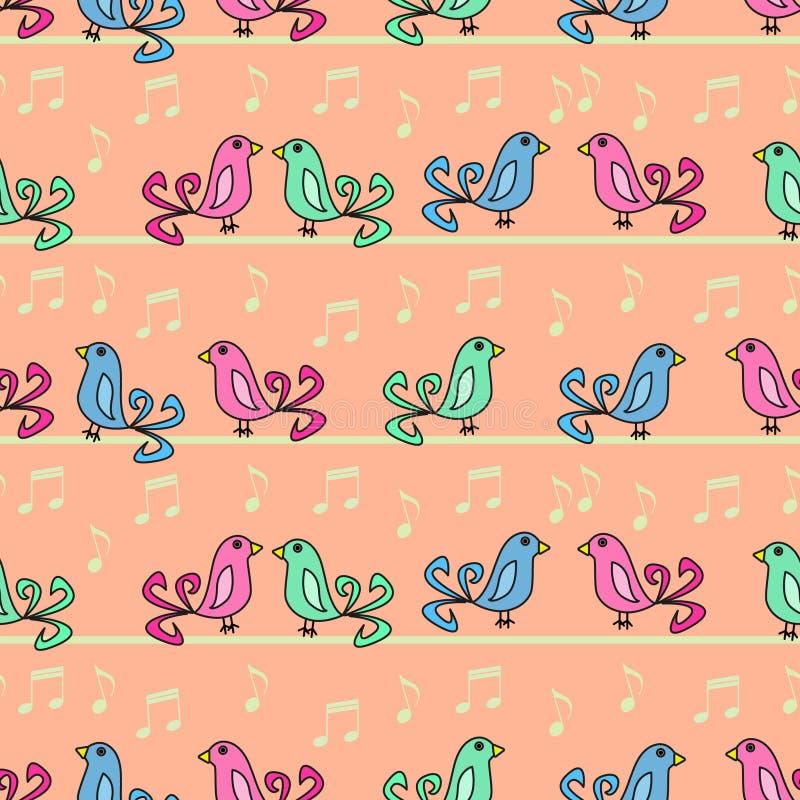 διάνυσμα κειμένων τραγουδιού θέσεων απεικόνισης χαιρετισμού καρτών πουλιών σας διανυσματική απεικόνιση