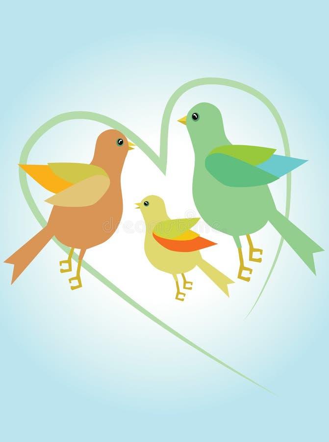 διάνυσμα οικογενειακής αγάπης πουλιών διάνυσμα απεικόνιση αποθεμάτων