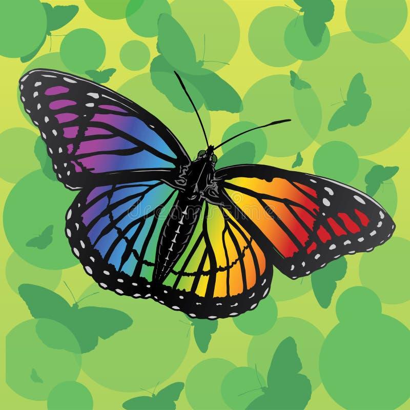 διάνυσμα ουράνιων τόξων απεικόνισης πεταλούδων διανυσματική απεικόνιση