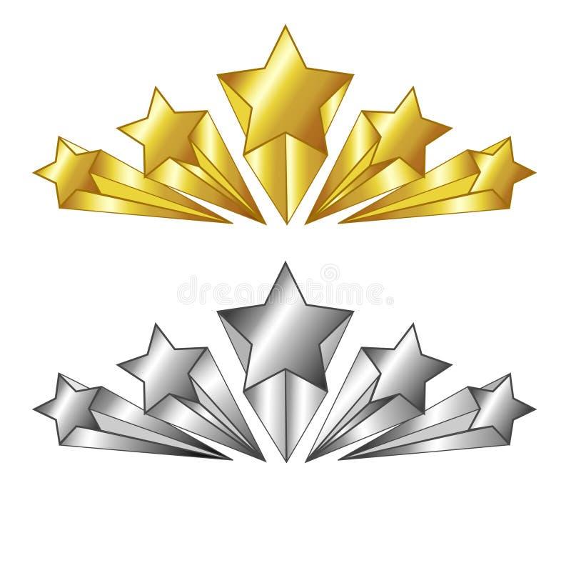 διάνυσμα πέντε αστέρων σύμβολο στα χρυσά και ασημένια χρώματα απομονωμένη ωθώντας s κουμπιών γυναίκα έναρξης χεριών απεικόνιση Κα ελεύθερη απεικόνιση δικαιώματος
