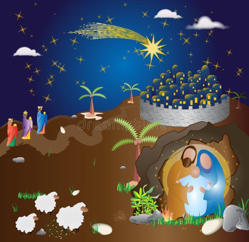 διάνυσμα σκηνής nativity απεικόνισης Χριστουγέννων Αφηρημένο σύγχρονο θρησκευτικό illus διανυσματική απεικόνιση