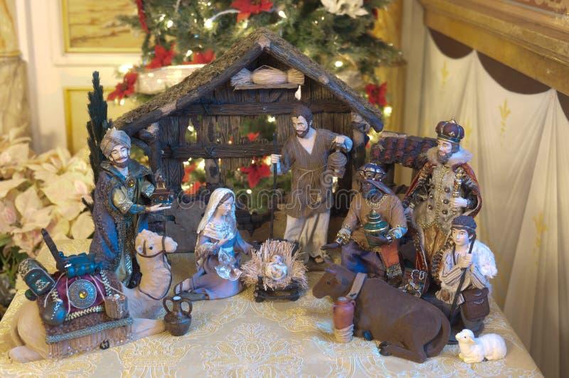 διάνυσμα σκηνής nativity απεικόνισης Χριστουγέννων στοκ φωτογραφία