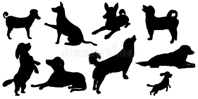 διάνυσμα σκιαγραφιών σκυλιών ανασκόπησης grunge διανυσματική απεικόνιση