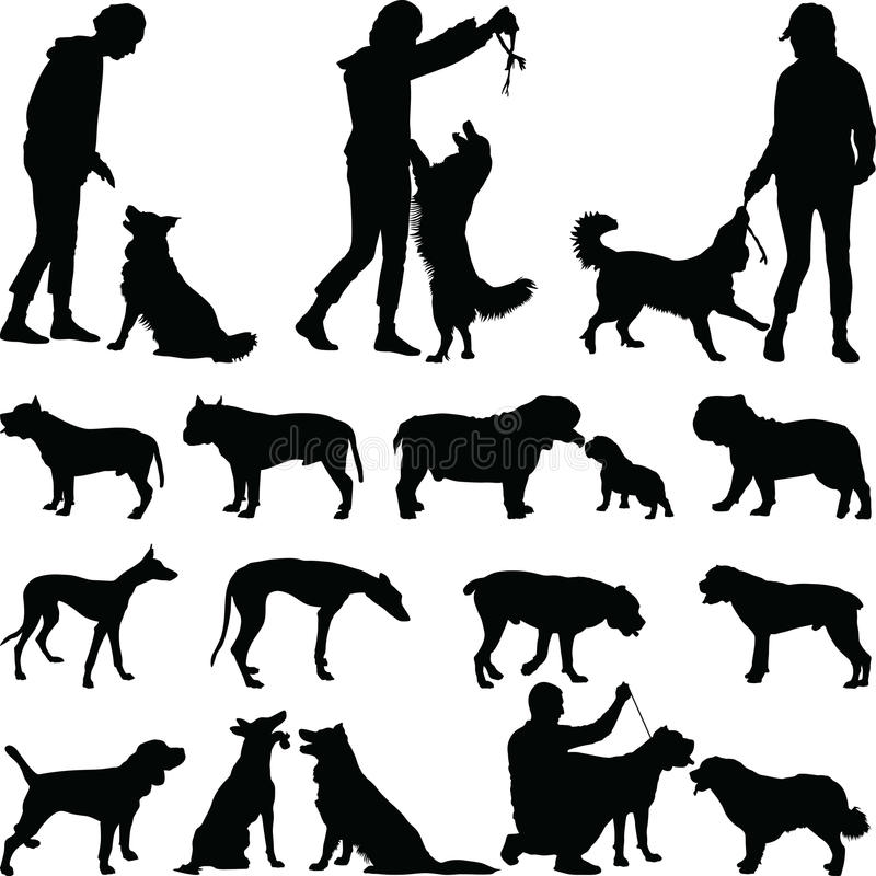 διάνυσμα σκιαγραφιών σκυλιών ανασκόπησης grunge στοκ φωτογραφία