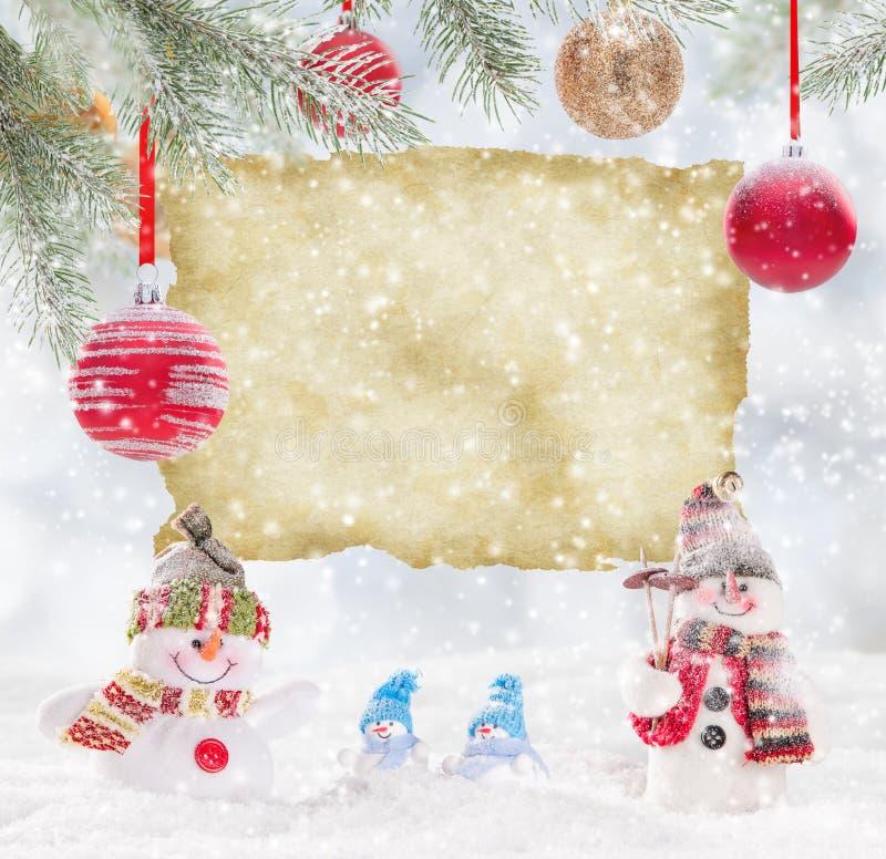 διάνυσμα χιονανθρώπων απεικόνισης Χριστουγέννων ανασκόπησης ελεύθερη απεικόνιση δικαιώματος