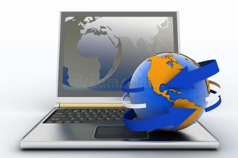 διάνυσμα lap-top γήινης απεικόνισης βελών απεικόνιση αποθεμάτων