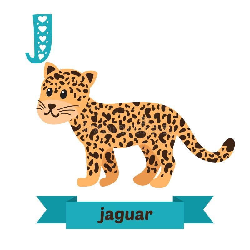 ιαγουάρος Επιστολή J Χαριτωμένο ζωικό αλφάβητο παιδιών στο διάνυσμα αστείος απεικόνιση αποθεμάτων