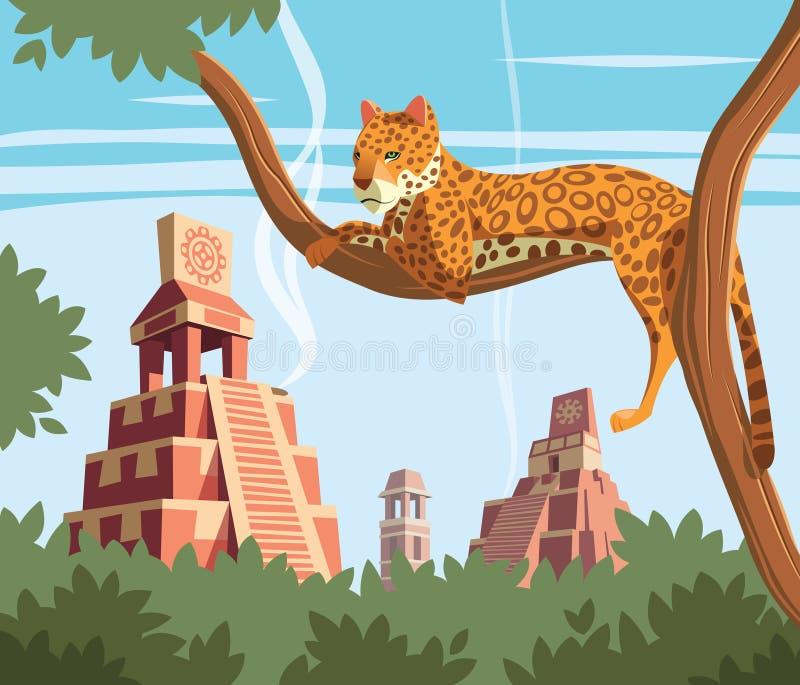 Ιαγουάρος στο δέντρο και αρχαίες των Μάγια πυραμίδες στο υπόβαθρο ελεύθερη απεικόνιση δικαιώματος