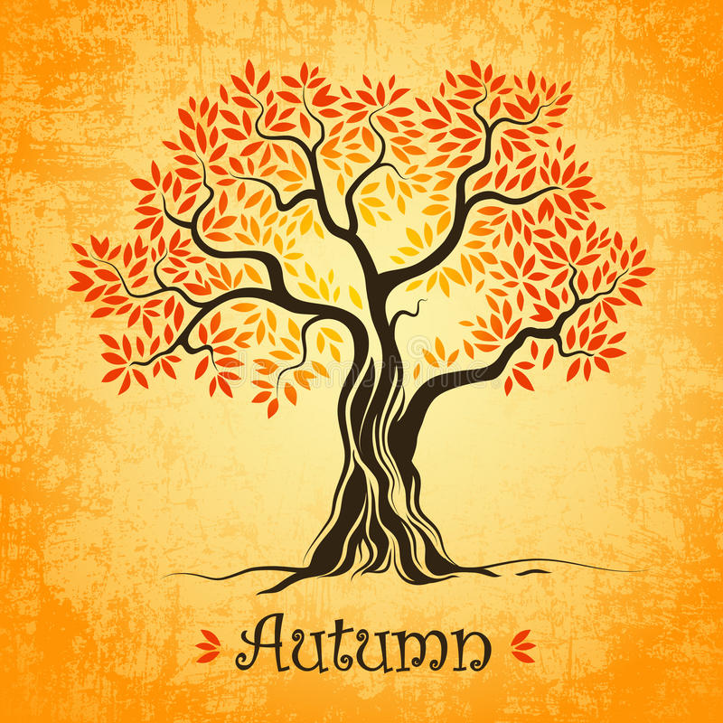διαθέσιμο διάνυσμα δέντρων απεικόνισης φθινοπώρου defoliation πτώση φύλλων ελεύθερη απεικόνιση δικαιώματος