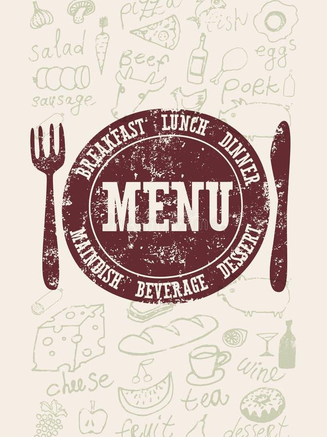 διαθέσιμο διάνυσμα εστιατορίων καταλόγων επιλογής σχεδίου Τυπογραφική αναδρομική αφίσα με το γραμματόσημο και τα hand-drawn τρόφι απεικόνιση αποθεμάτων
