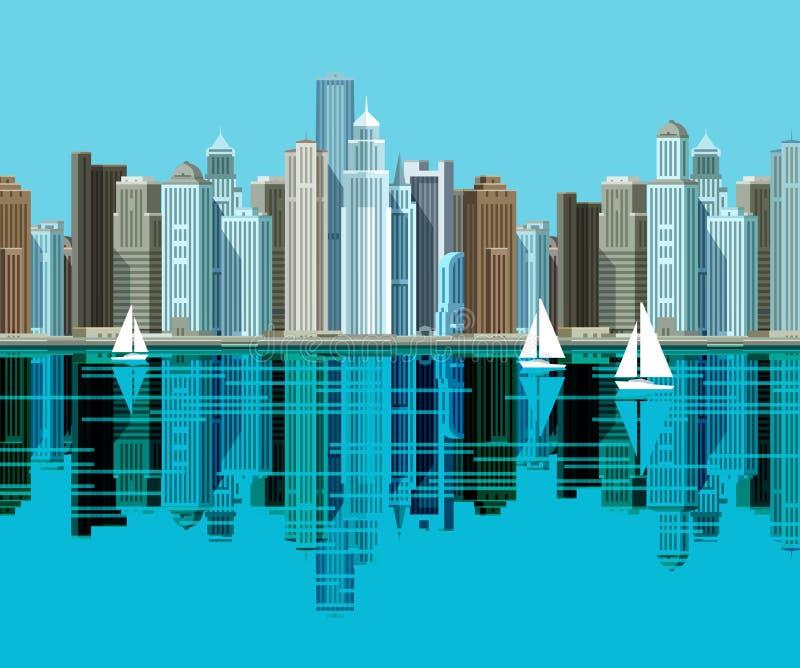 διαθέσιμο μεγάλο διάνυσμα εικονιδίων πόλεων Στάση ουρανοξυστών στην παραλία και ελεύθερη απεικόνιση δικαιώματος
